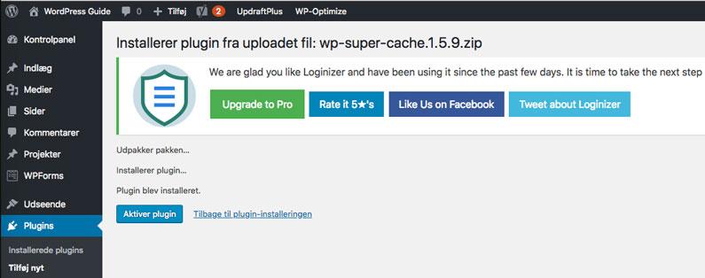 Upload WordPress plugin aktiver plugin