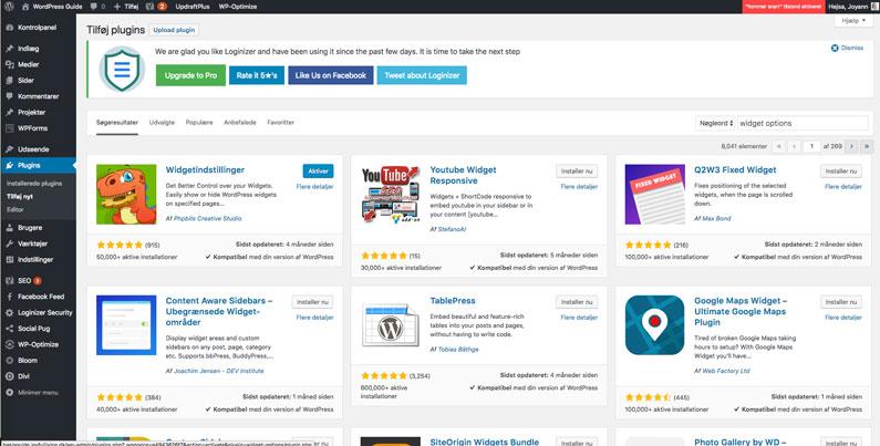 WordPress plugin installation - aktiver plugin