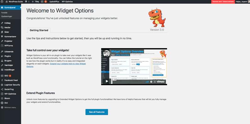 WordPress plugin installation - widget options indstillinger